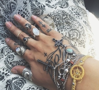 jewels ring hand jewelry tattoo fashion cross