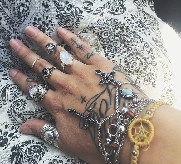 jewels cross ring hand jewelry tattoo fashion
