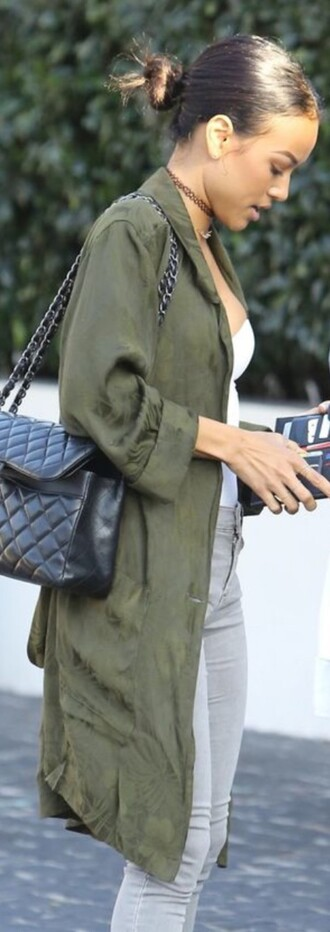 coat tumblr karrueche outfit green coat