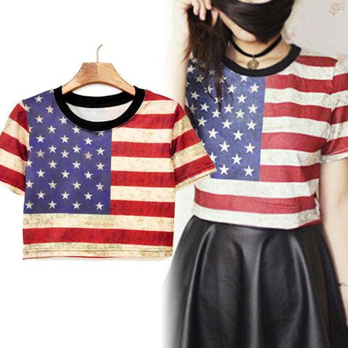 Crop top midriff shirt upper tee punk new sexy american flag women summer new