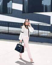 top,tumblr,lace top,white lace top,white top,pants,pink pants,office outfits,bag,black bag,pumps,pointed toe pumps,high heel pumps,bow heels,jewels,shoes,sunglasses