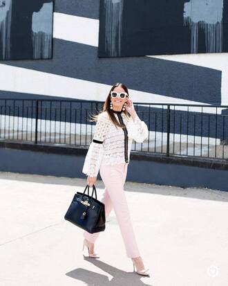 top tumblr lace top white lace top white top pants pink pants office outfits bag black bag pumps pointed toe pumps high heel pumps bow heels jewels shoes sunglasses