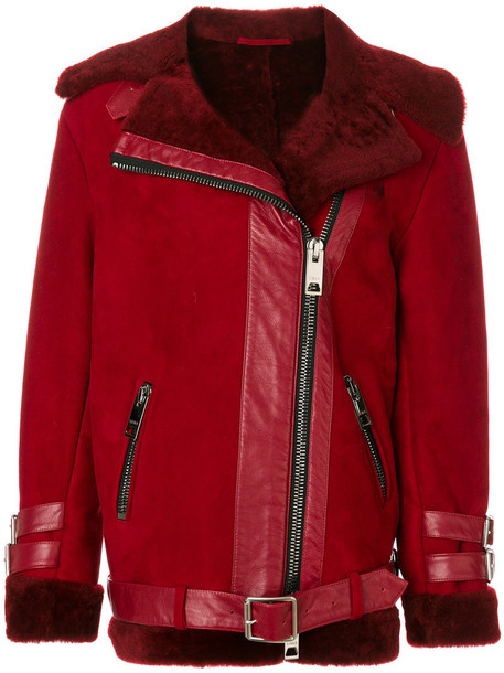 Liska jacket fur women leather red