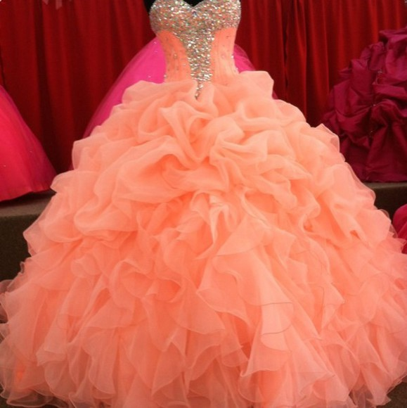 ruffle coral gown sparkly dress