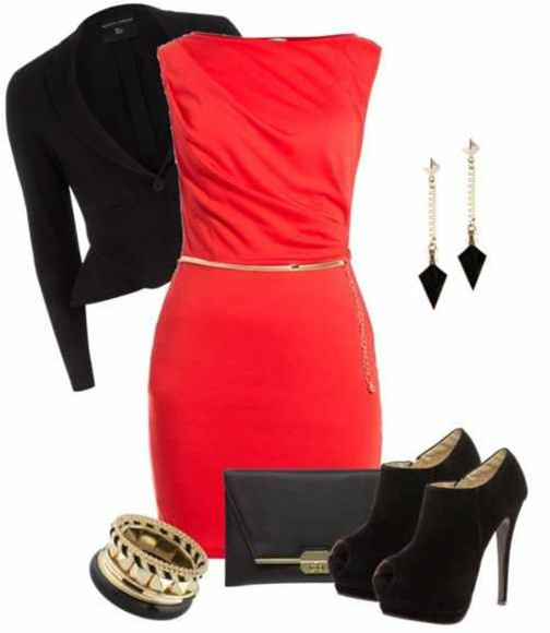 black blazer dress red dress