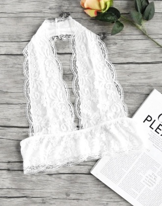 underwear girly white lace lingerie bra bralette lace bralette halter neck