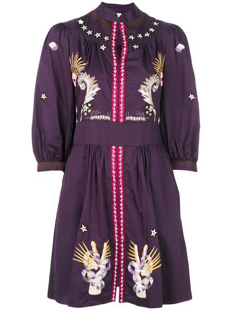 Temperley London dress mini dress mini women cotton purple pink