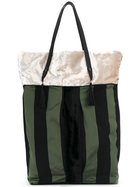 Forte Forte - striped shopper tote - women - Silk/Leather/Viscose/Velvet - One Size, Black, Silk/Leather/Viscose/Velvet