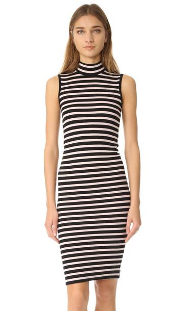 Atm Anthony Thomas Melillo Modal Rib Sleeveless Stripe Dress - Black/Blush