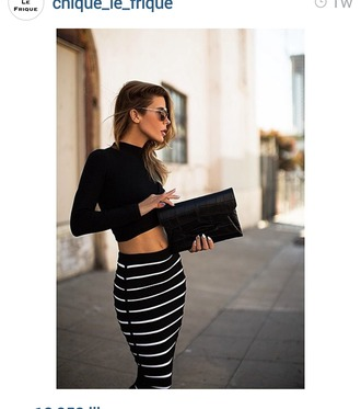 striped skirt white stripes black top black crop top