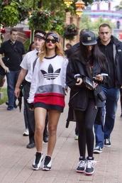 sweater,adidas,red,white,black,rihanna,hair accessory,dress,oversized sweater,shoes,sneakers,bandana,shirt,blouse
