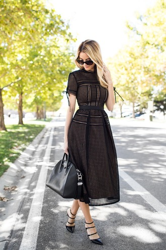 ivory lane blogger dress mesh dress black dress black leather bag pointed toe pointed toe pumps