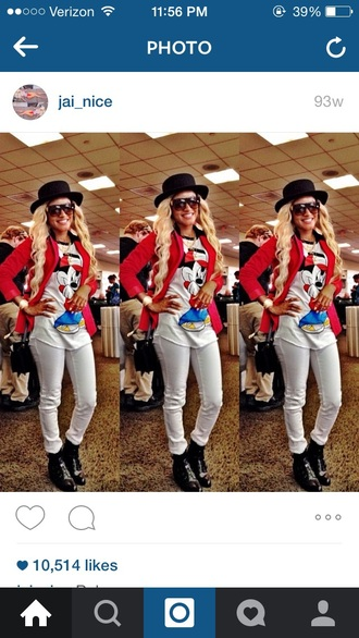 jacket red jacket white pants black black hat mickey mouse shirt white top black boots black bag black sunglasses jai nice jainice skirt pants shoes hat