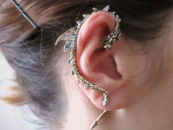Punk bronze Dragon Ear Cuff Earring dragon jewelry by StylesBiju