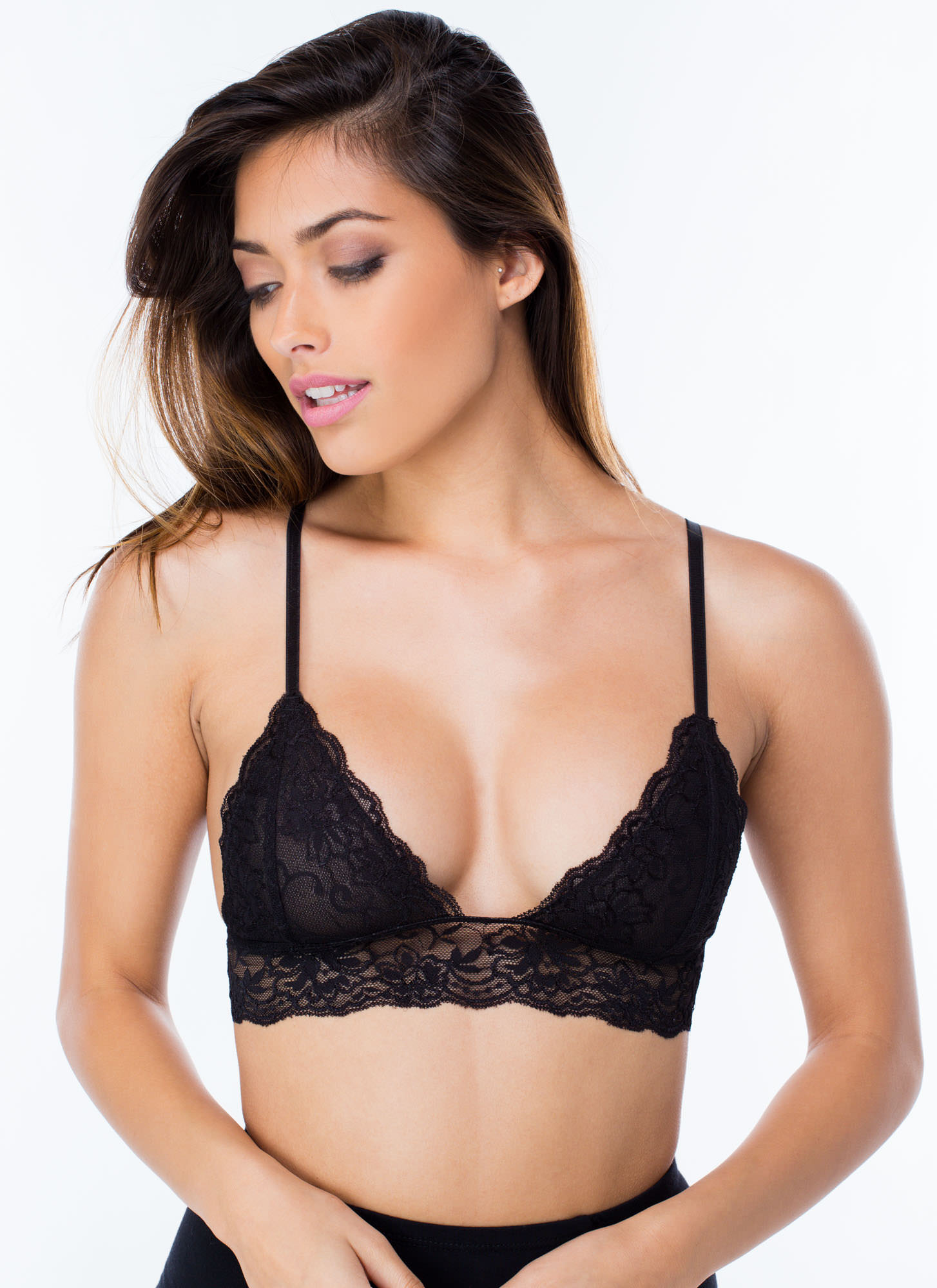 Feminine Flair Lace Bralette Black Grey Burgundy Beige