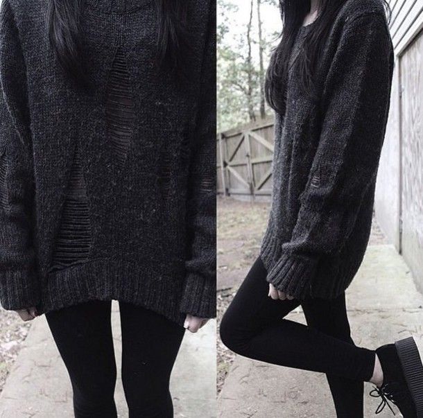 shirt grunge sweater black ripped jumper grey sweater oversized sweater