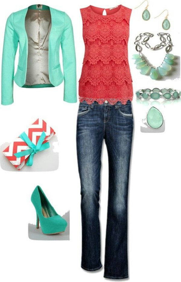 jacket blazer mint blouse coral lace tiered tank top shirt bag shoes jeans jewels top