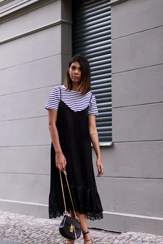 dress striped t-shirt black slip dress sexy dress blogger date outfit