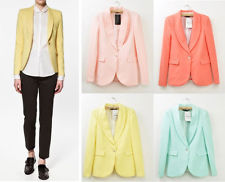 Basic Candy OL Mint Green Coral Light Pink Yellow Slim Suit Jacket Blazer S M L | eBay