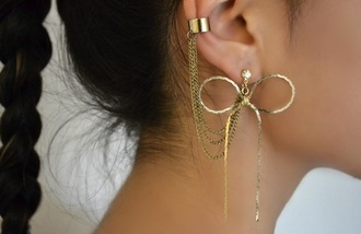 jewels earrings golden earrings fashion clothes earing gold bows latch