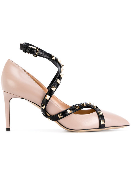 Valentino women pumps leather nude suede shoes