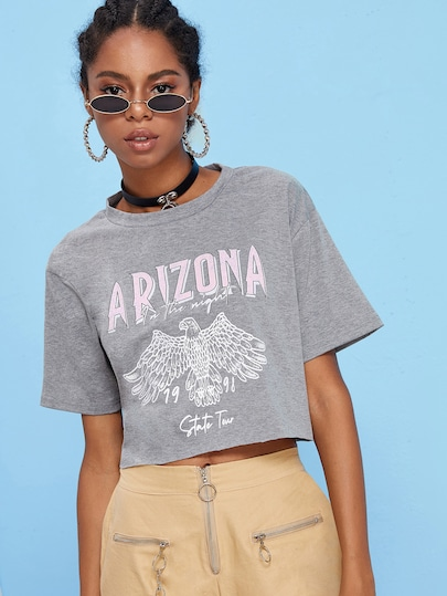 Letter And Eagle Print Crop Tee