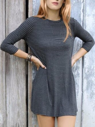 dress casual stripes long sleeves casual style jewel neck 3/4 sleeve stripe loose-fitting women's dress fall outfits cool trendy