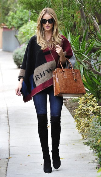 rosie huntington-whiteley bag boots fall outfits cape poncho over knee high boots