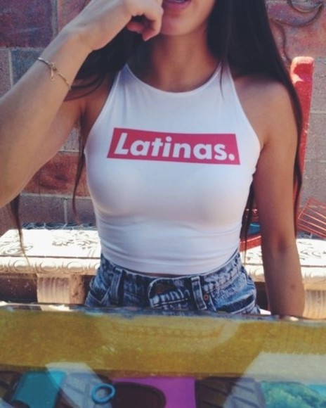 top swag crop tops white latinas red