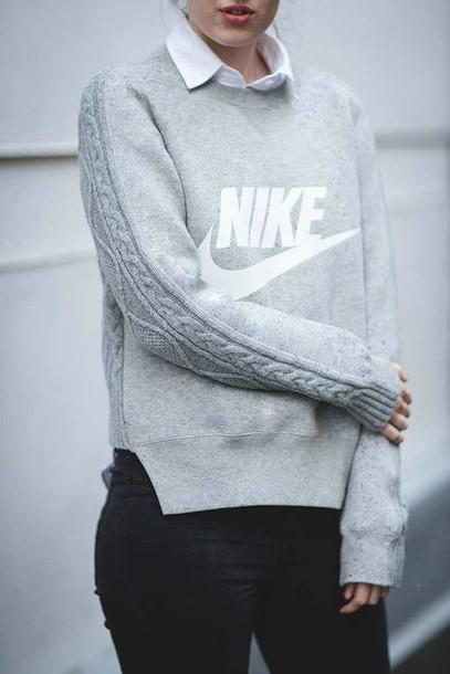 sweater grey nike sweater