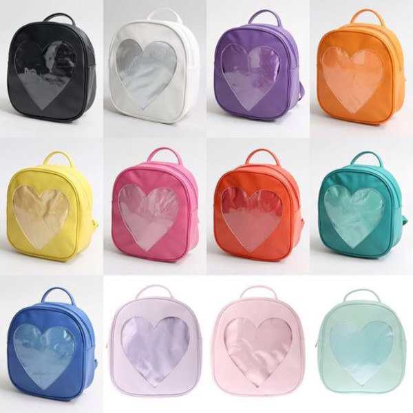 bag aitaikuji square bag viynl see through kawaii kawaii accessory kawaii bag backpack heart heart cut out pastel pastel goth fangirl accessories rainbow velvet japan grunge pastel grunge pastel bag