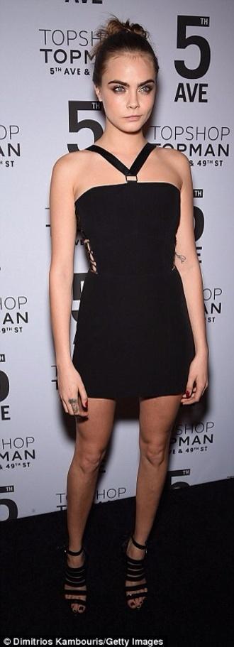 cara delevingne dress black sandals