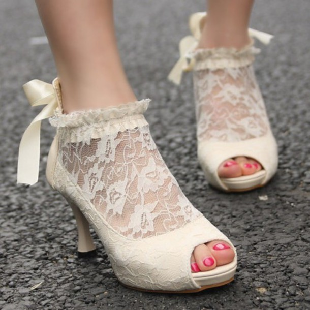 Shoes: vintage shoes for her, lace up, lace up heels, white high ...
