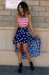 skirt,high low,stars,navy,striped shirt,stripes,american flag,crop tops,crop tank,shirt
