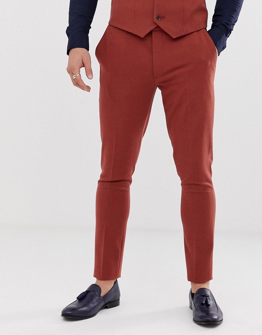 ASOS DESIGN super skinny suit trousers in burnt henna