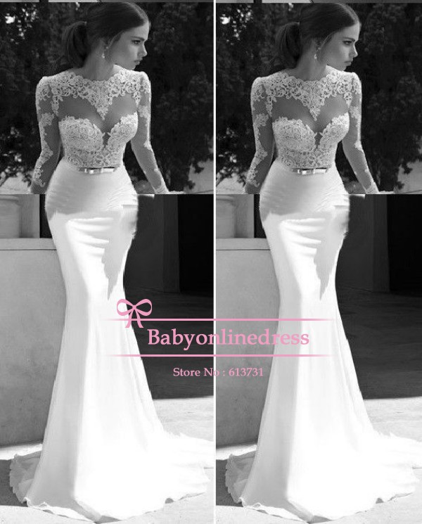 Aliexpress.com : buy 2014 new arrival trumpet/mermaid scoop sexy white lace appliques backless evening gown long sleeve floor length prom dresses from reliable lace mother of bride dresses suppliers on suzhou babyonline dress store