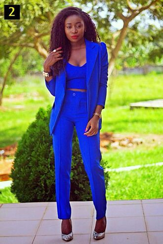 pants blazer cobalt blue blue jacket tank top