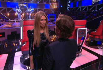 dress delta goodrem the voice australia blue glittery dress