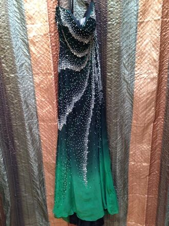 black to green ombré strapless dress dress with train prom dress green dress emerald green long prom dress ombre dress sequin dress beaded dress strapless prom dress sparkle sparkly dress long dress dress