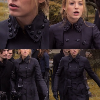 coat serena van der woodsen blake lively serena gossip girl jacket black buttons fashion cw