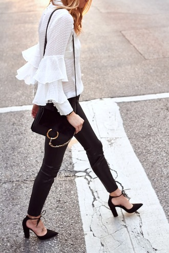 lefashion blogger blouse bag pants dress tumblr ruffle ruffled top black bag shoulder bag black pants black leather pants leather pants pumps pointed toe pumps high heel pumps high heels heels white top white blouse