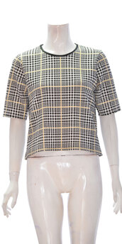 shirt,women check print shorts sleeve top off-white