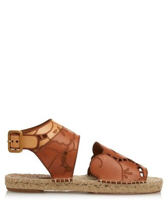 sandals floral tan shoes