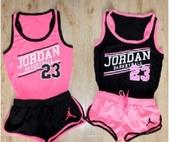jumpsuit,clothes,t-shirt,shorts,jordans,outfit,matching shorts and top,matching set,cute,pink,tank top,jordan,23,basketball
