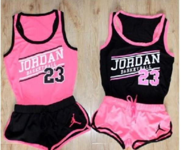 jumpsuit clothes t-shirt shorts jordans outfit matching shorts and top matching set cute pink tank top jordan 23 tank top basketball