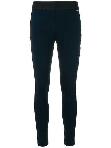 Twin-Set women spandex lace blue pants