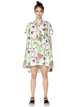 dress shirt dress floral cotton white