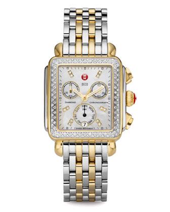 MICHELE Deco Day Diamond Two-Tone Watch - Neiman Marcus