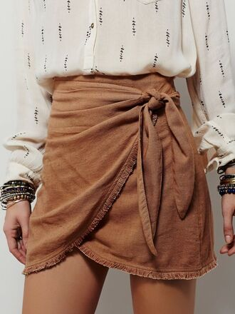 skirt suede skirt boho bow wrapped skirt ruched printed shirt back to school summer outfits fall outfits fall colors wrap skirt