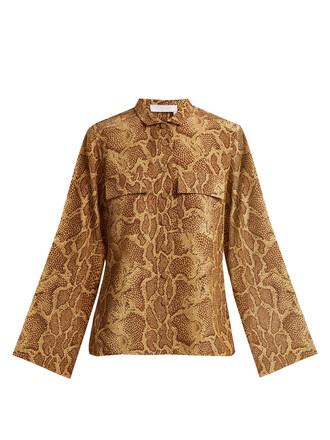 shirt python print silk beige top